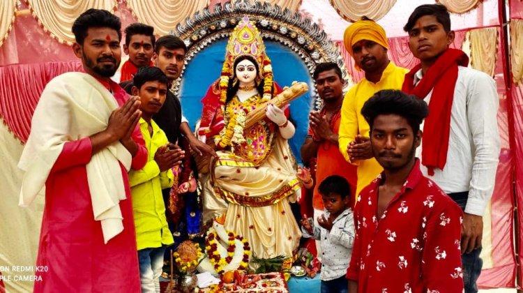 विधा स्पोटिंग क्लब द्वारा स्थापित की गई मां सरस्वती की प्रतिमा